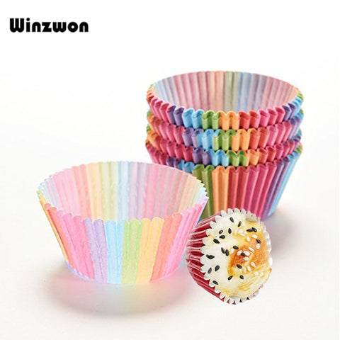 100Pcs/lot Rainbow Color Cupcake Liner Muffin Baking Paper Cup Bake Cake Cup Tray Cake Mold
