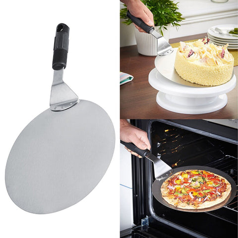 10inch Plate Pizza Shovel Baking Paddle Style Stainless Steel Holder Cake Spatula Round Peel