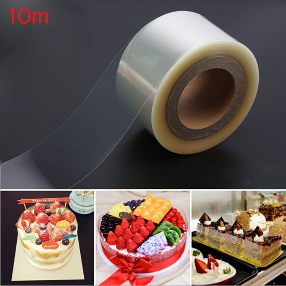 10m Transparent Baking Cake Collar Roll Packaging Cake Decorating Tools Clear Mousse Surrounding