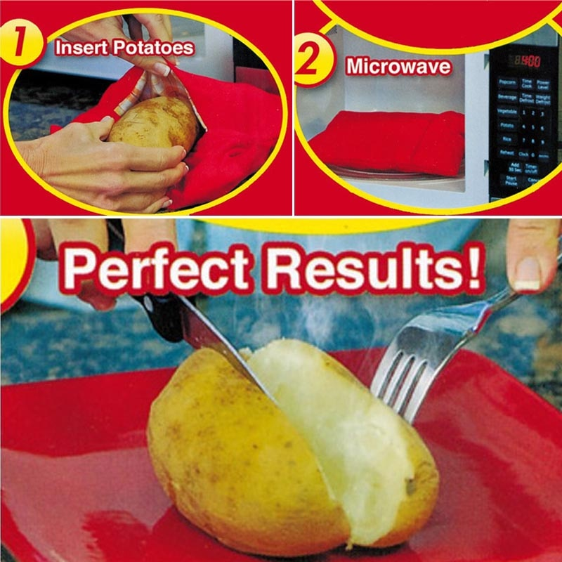 (10pcs) Reusable Microwave Potato Cooker Bag, Potato Pouch Cooker, Perfect Potatoes Just in 4