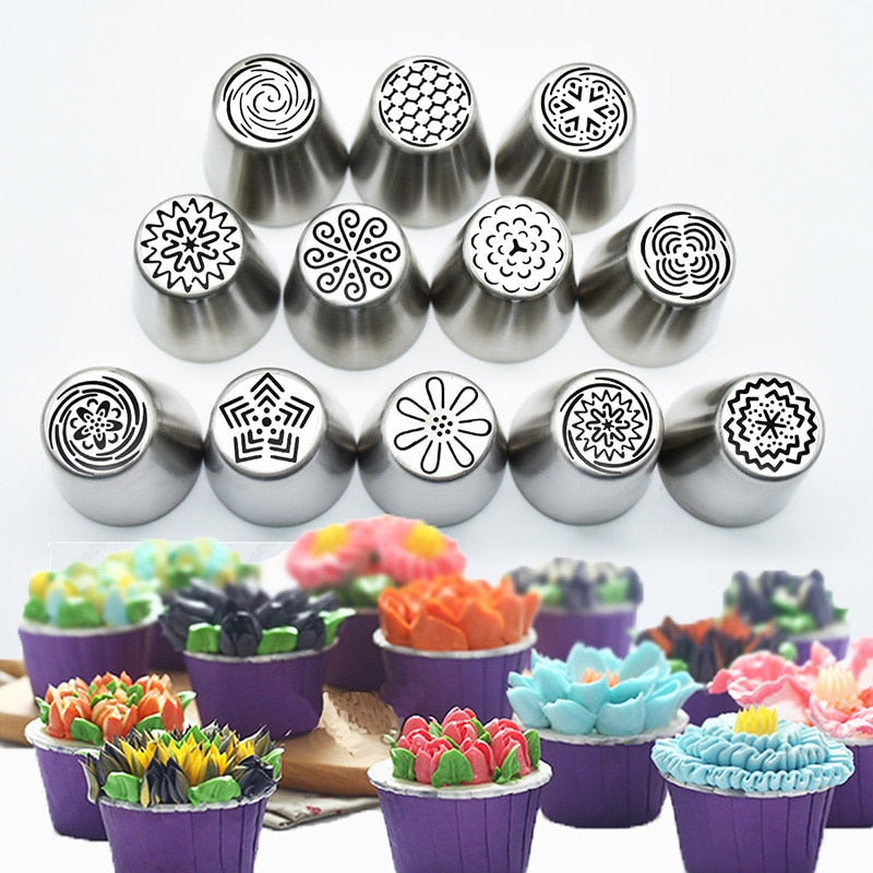 12 Pcs/set Stainless Steel Cream Nozzle Pastry set DIY Fondant Cake Dessert Biscuit Decorating