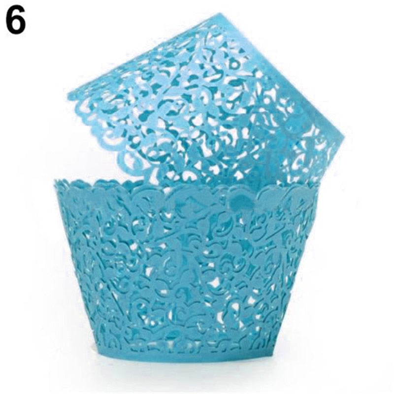 12PCS/Lot Little Vine Lace Laser Cut Cupcake Wrapper Liner Baking Cup For Home Wedding Birthday