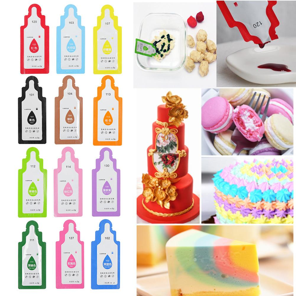 12Pcs Edible Food Pigment Coloring Healthy Safe Fondant Cake Decorating Tools Macaron Cream Cake