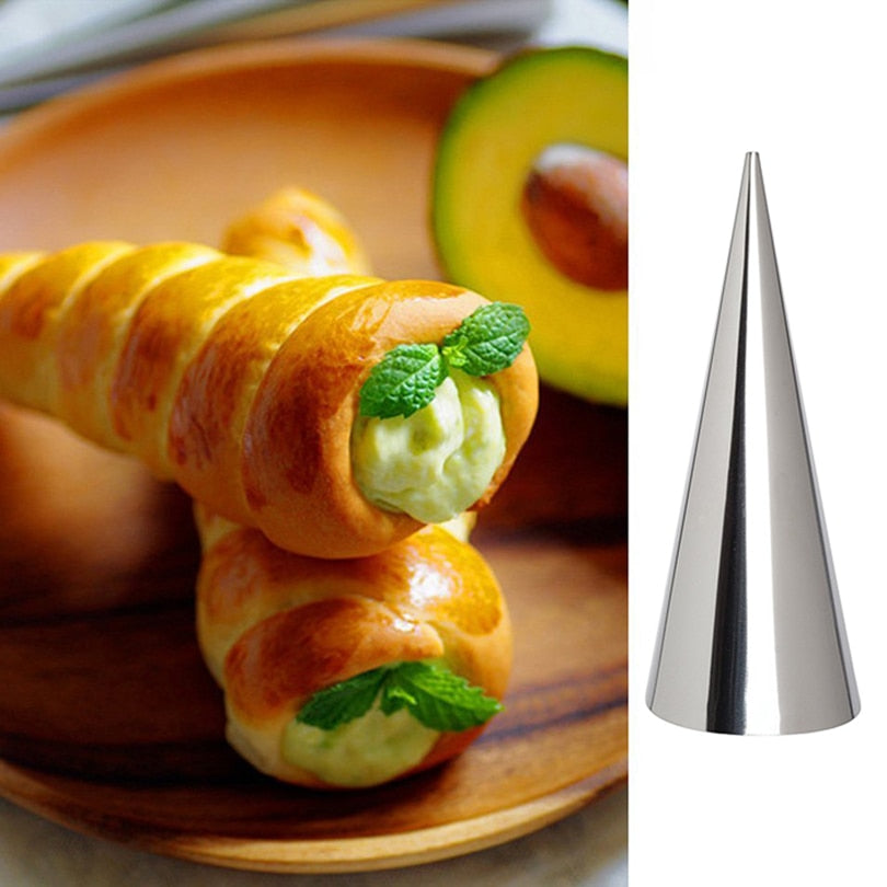 12pcs High Quality Conical Tube Cone Roll Moulds Stainless Steel Spiral Croissants Molds Pastry