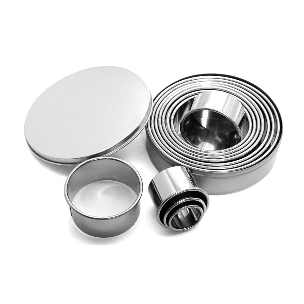 12pcs/set Stainless Steel Round Cookie Biscuit Cutters Circle Pastry Cutters Metal Baking Circle