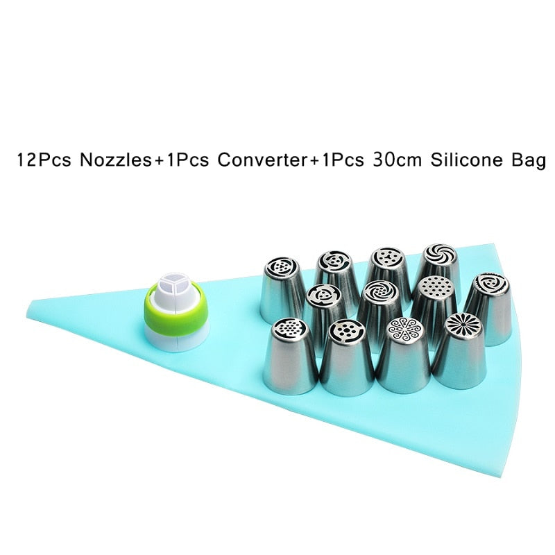 14pc/Set Stainless Steel Russian Tulip Icing Piping Nozzles Flower Cream Pastry Tips Nozzles
