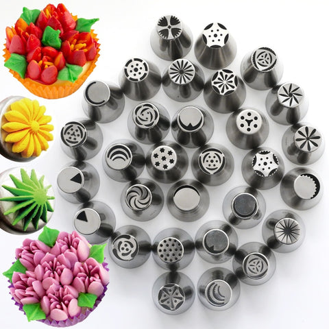 15 Style Stainless Steel Russian Tulip Icing Piping Nozzles Pastry Decorating Tips Silicone Reusable