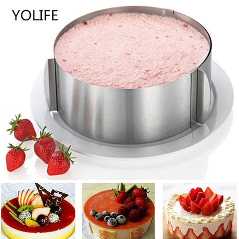 16-30CM Retractable Stainless Steel Circle Mousse Ring Baking Tool Set Cake Mold Size Adjustable