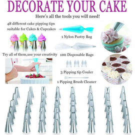 164Pcs DIY Multi-function Cake Decorating Kit Cake Turntable Set Pastry Tube Fondant Tool Cake