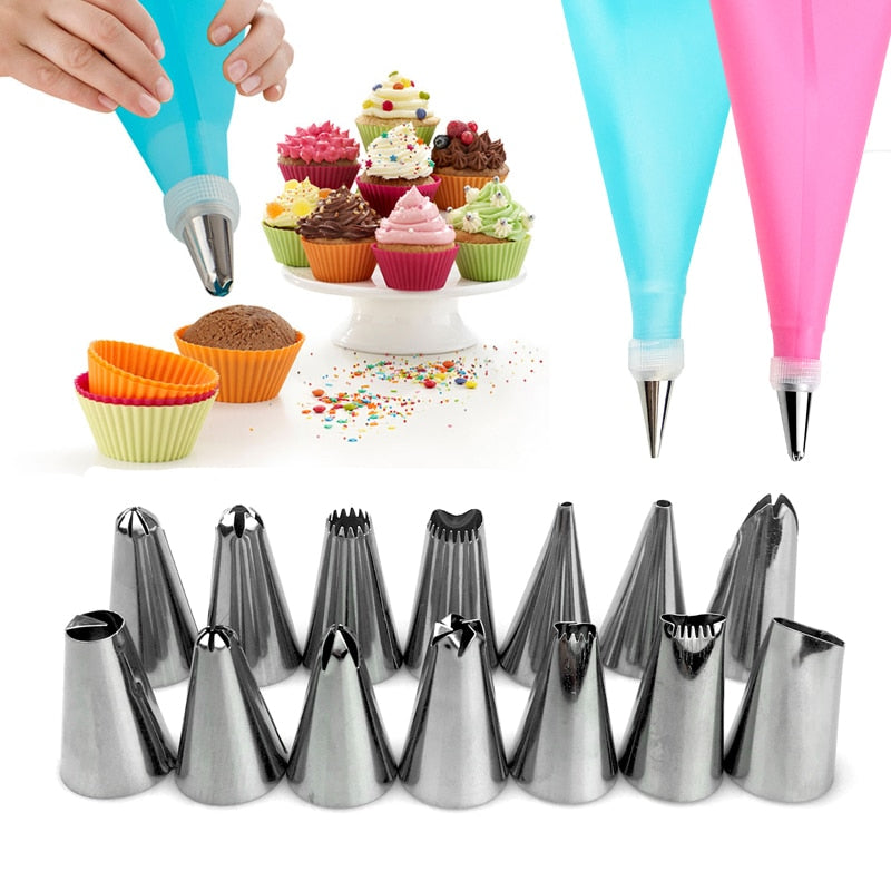 16PCS Nozzles for Confectionery Bag Cake Icing Decorating Tools Confectionery Nozzles Cream