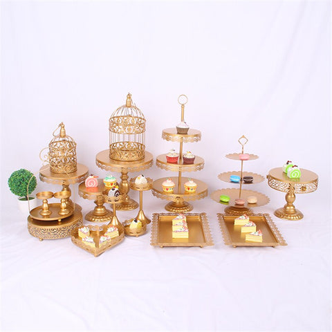 18pcs Set Decoration Crystal 3 Tier Metal Cupcake Gold Birthday Cake Stand
