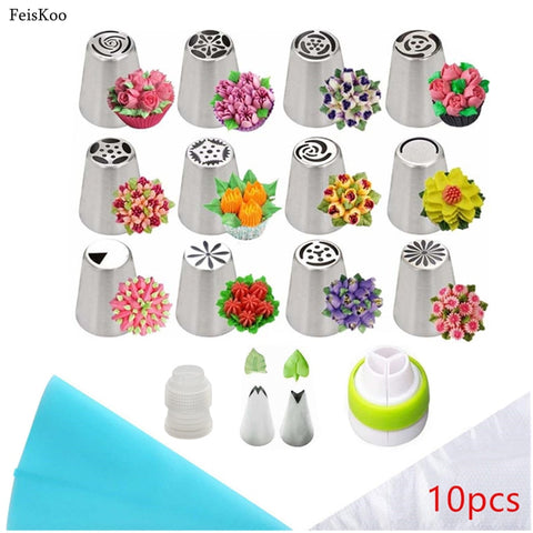 18pcs/Set Rose Russian Tulip Stainless Steel Pastry Nozzles For Cream With Pastry Bag Cake Tools