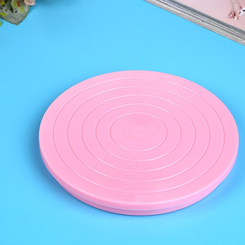 1PC 14*1.5cm Plastic Mini Cake Revolving Plate Pink Turntable Rotating Cake Stands Fondant Cake