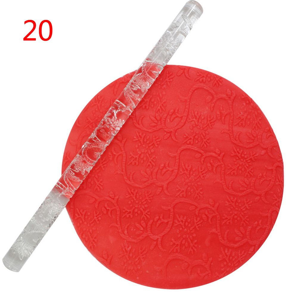 1PC Acrylic Rolling Pin Designed Fondant Cake Impression Rolling Pin Pastry Roller Embossing