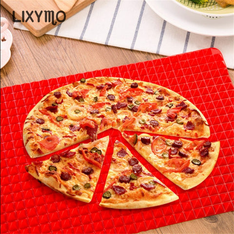 1PC BBQ Silicone Mat Barbecue Pyramid Pan Fat Reducing Slip Oven Baking Grill Oil Filter Pad Sheet