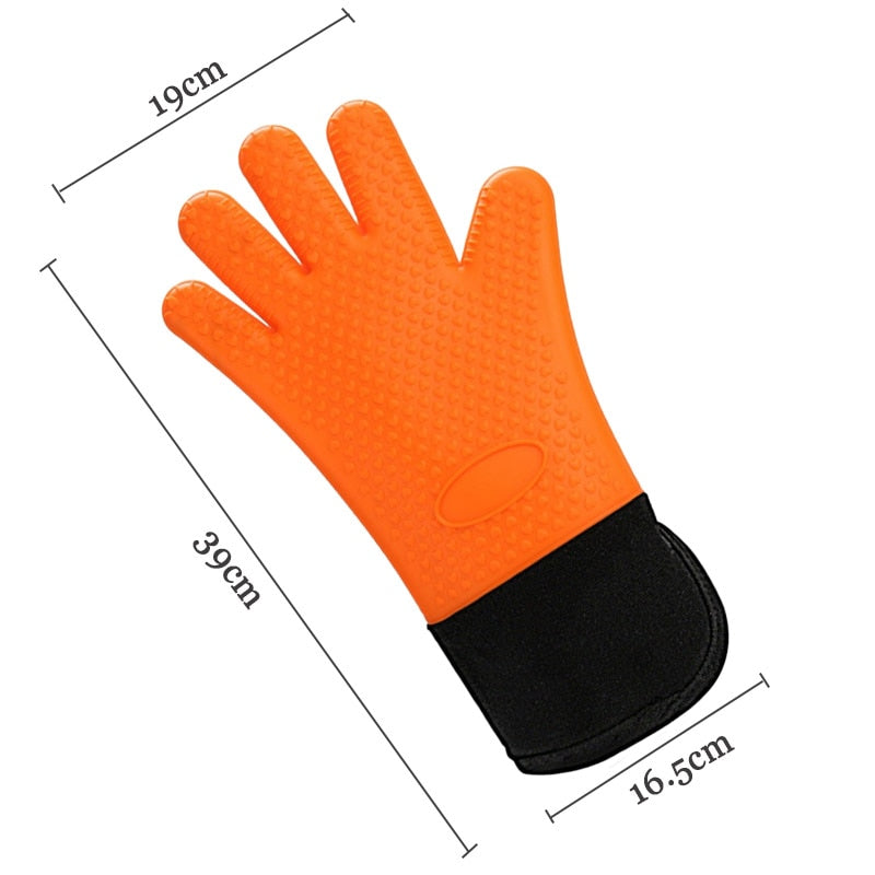 1PC Long Length Silicone Glove For Oven Heat Resistant Oven Gloves Cotton Mitt Silicone Baking