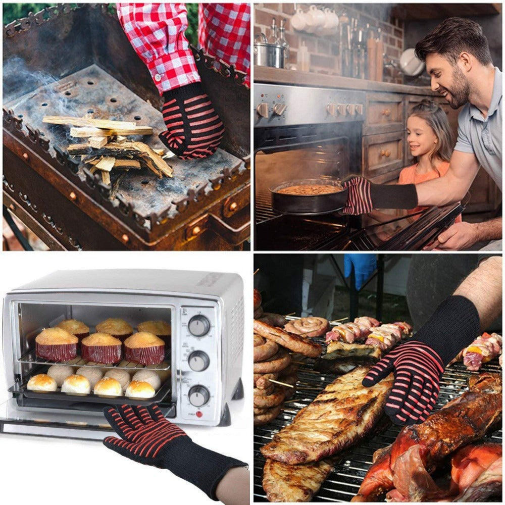 1Pair BBQ Gloves 932F 1472F(500C 800C) Extreme Heat Resistant Silicone Mitts For Grilling