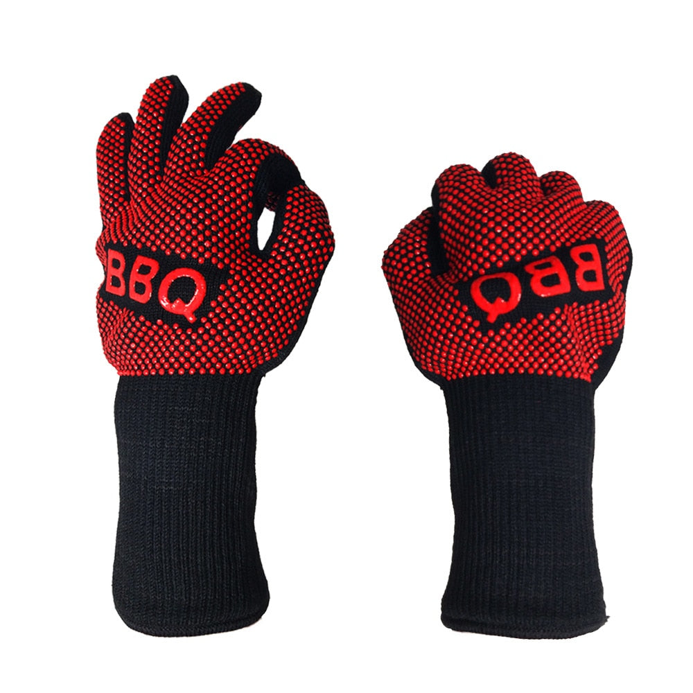1Pair BBQ Gloves 932F 1472F(500C 800C) Extreme Heat Resistant Silicone Mitts Best for Grilling
