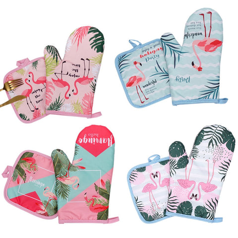 1Pair Cotton Fashion Flamingo Cactus Kitchen Pads Cooking Microwave Pot Holder Baking BBQ Oven