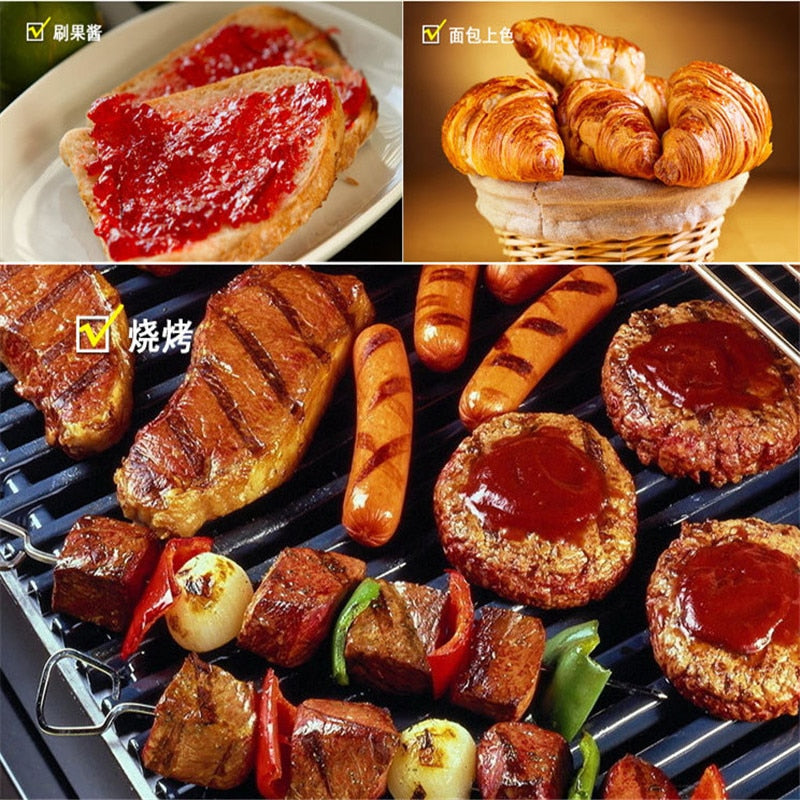 1Pc BBQ Wood Handle Basting Oil Brush Barbecue Cooking Accessories Bristle Brushes Kitchen Gadgets
