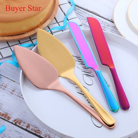1Pc Gold/Rose Gold Stainless Steel Cake Shovel Knife Pie Pizza Cheese Server Cake Divider knives
