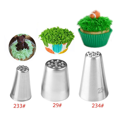 1Pc or 3pcs/set Grass Cream Icing Nozzles Cupcake Head Cake Decorating Stainless Steel Pastry