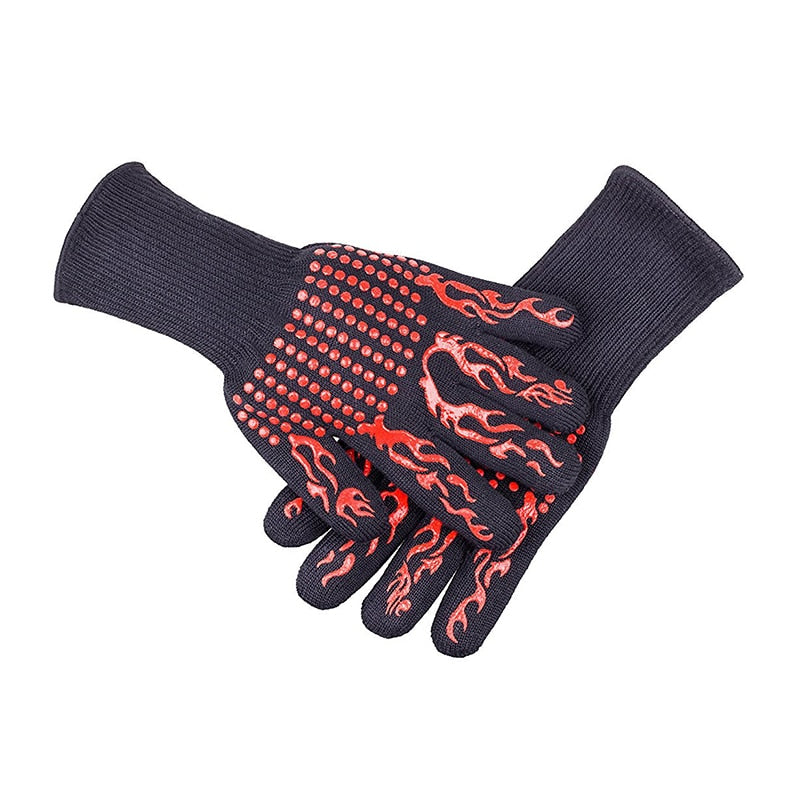 1pair Barbecue Kitchen Gloves BBQ Gloves Oven Mitts Baking Glove Extreme Heat Resistant