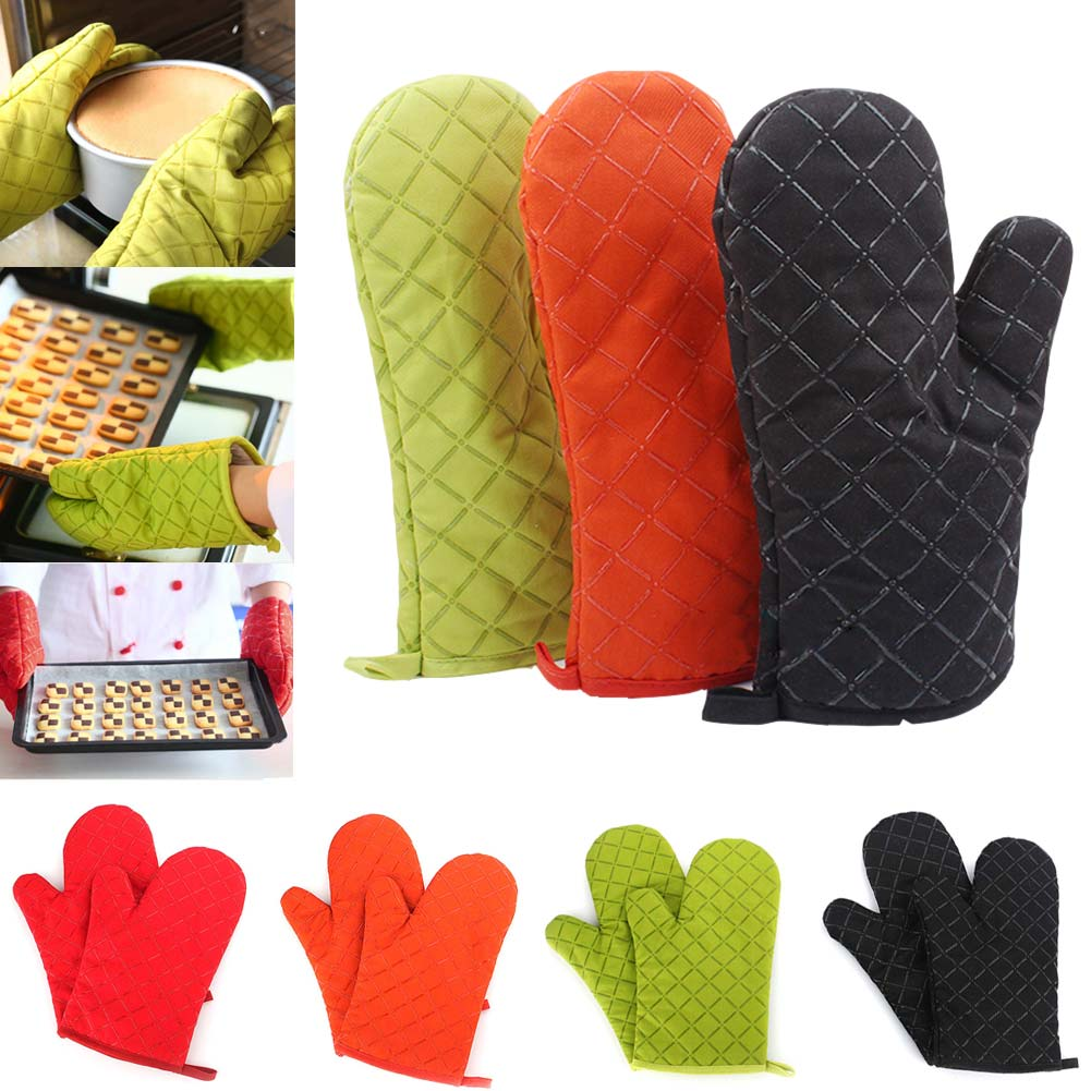 1pair Microwave Oven Gloves Insulation Silicone Oven Mitts Non-Slip Kitchen BBQ Cooking Gloves