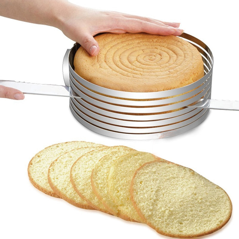 1pc 16-20cm Stainless Steel Cake Layered Slicer Adjustable Retractable Circular Mousse Ring Cut Tool