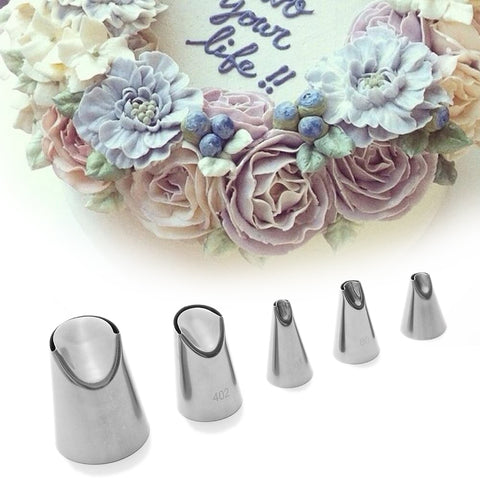 1pc Cake Cream  Nozzle  Tulip Home Garden Stainless Steel Icing Piping Tips DIY Pastry Decor