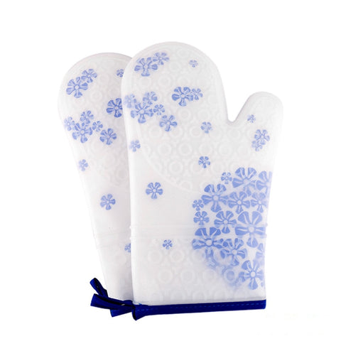 1pcs Procelain Silicone Glove Kitchen Heat Resistant Glove Cotton Oven Mitts BBQ Baking Glove