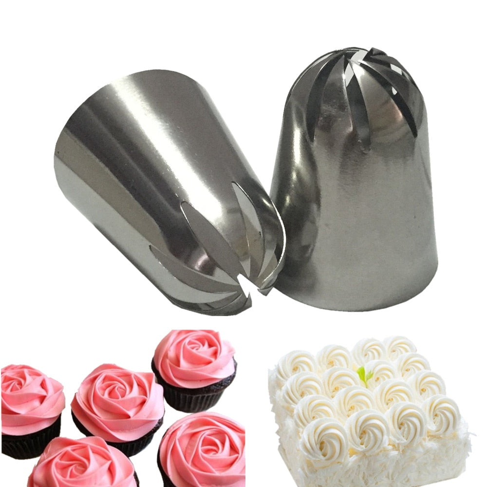2 PCS Large Cream Nozzle Pastry Stainless Steel Icing Piping Tips Set Cupcake Cakes Decorating