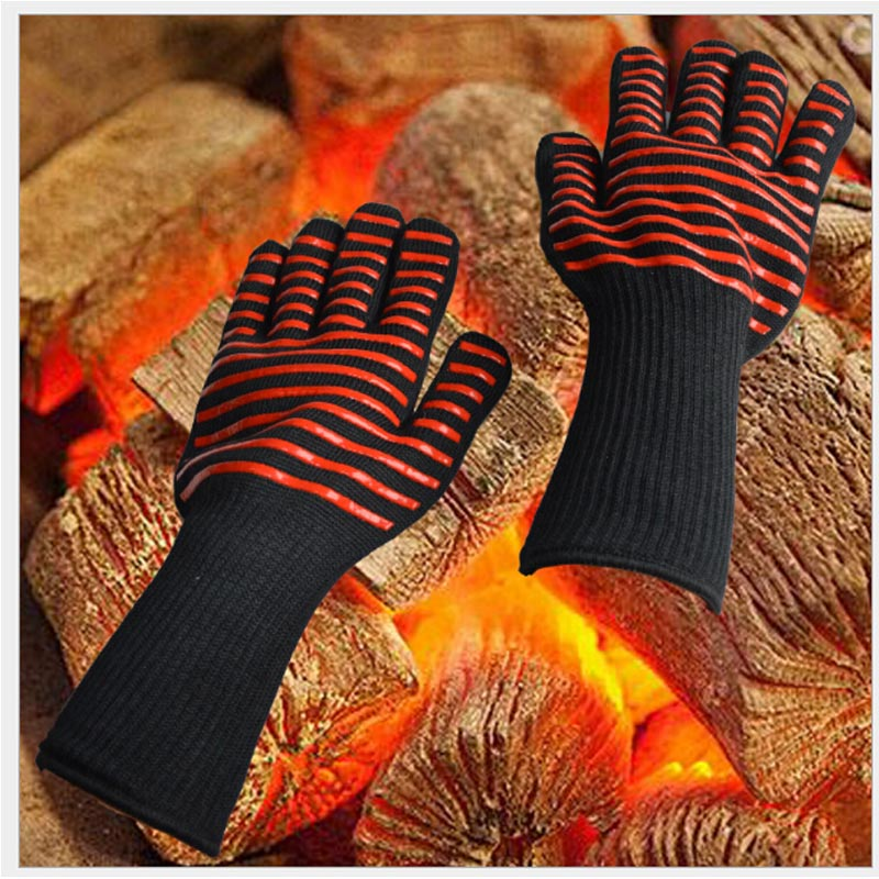 2 pcs (1 set) Barbecue High Temperature Aramid Gloves Kitchen Heat Insulation Silicone Gloves
