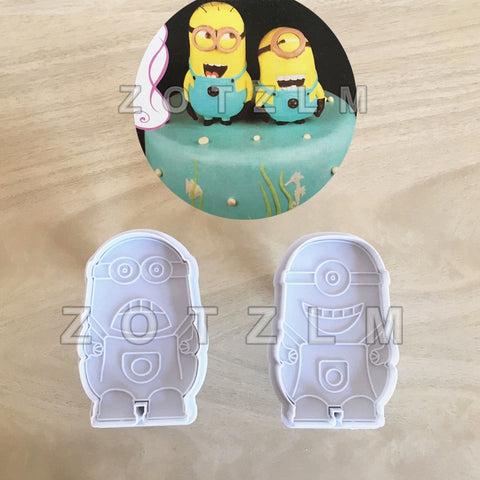 2 pcs/set Cartoon Minions Plastic Cookie Cutters Biscuit Mold Fairy Tale Animation Series Plunger