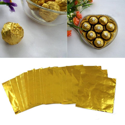 200 Pcs/lot Useful Square Candy Sweets Chocolate Foil Wrappers Confectionary Gold New 7.5cmx7.5cm