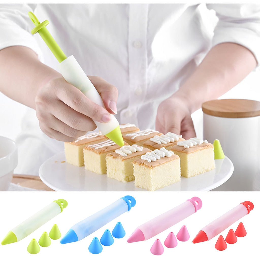 Silicone Food Writing Pen Chocolate Cake Decorating Tools Cream Cup Icing Piping