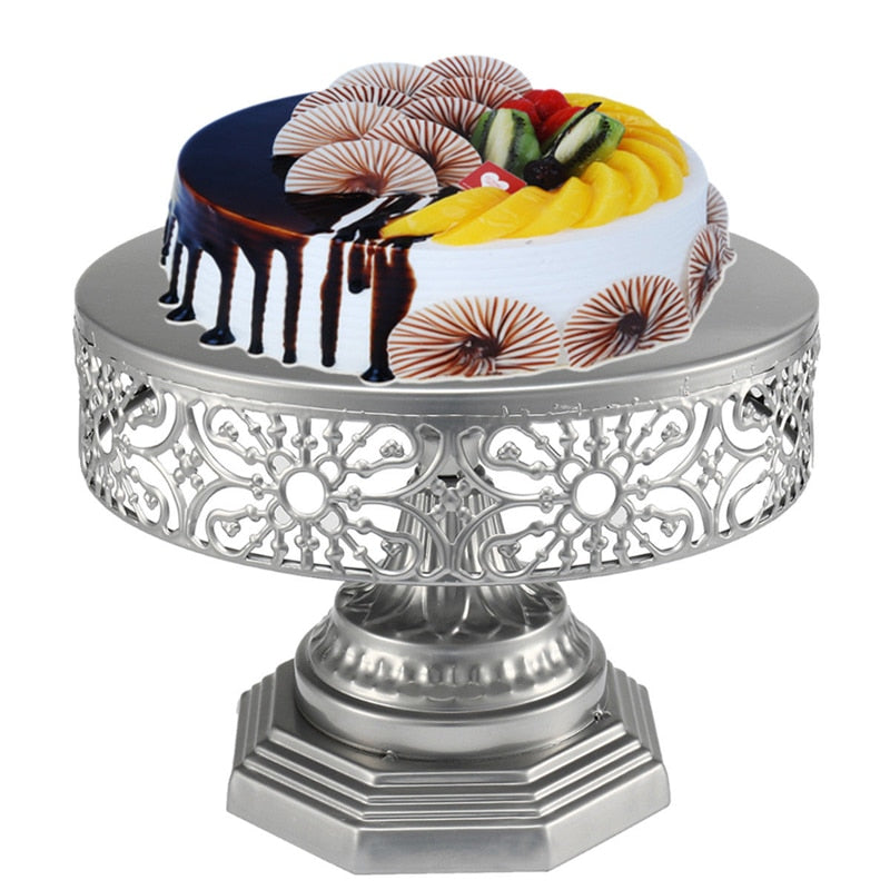 Gold Wedding Cake Stand Round Metal Party Display Pedestal Plate Tower 25cm Tools Iron
