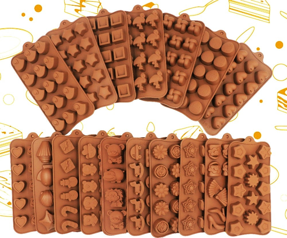 2019 New Silicone Chocolate Mold 25 Shapes 3D Chocolate baking Tools Jelly and Candy Mold DIY