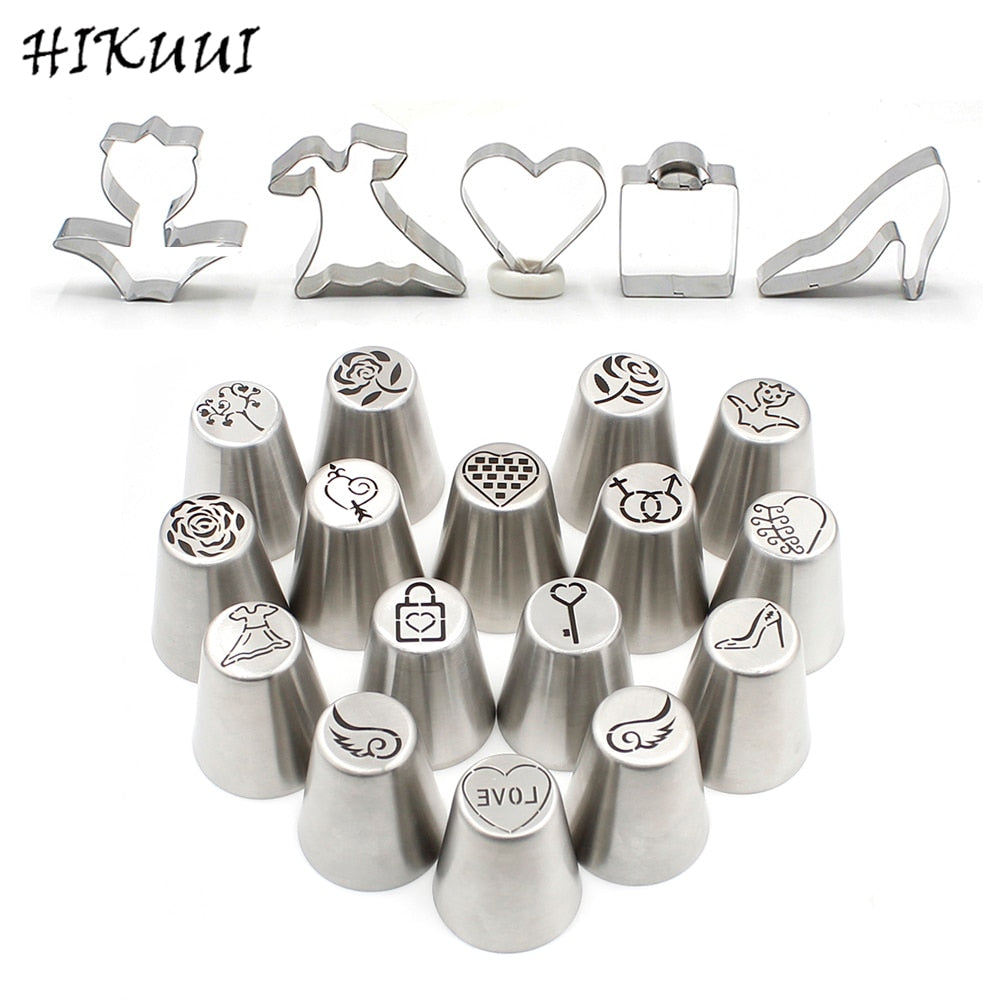 21pcs Icing Piping Nozzles&Cookie Cutters Fondant Cake DIY Tools Bakeware Set Valentine's Day