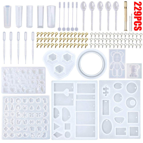229Pcs Resin Casting Molds Kit Silicone Mold For Making Jewelry Necklace Pendant Mould Hand Craft