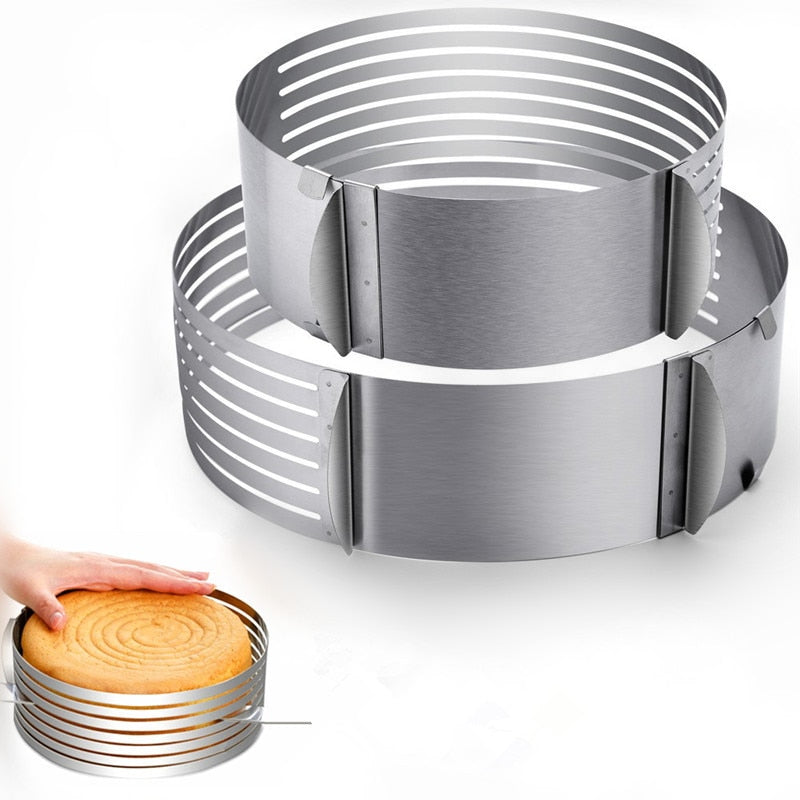 24-30 cm Stainless Steel Adjustable Confectionery Tool Layer Cutter Cake Slicer Circle Mold Cake