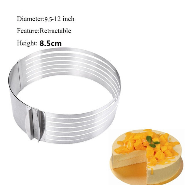 24-30 cm Stainless Steel Adjustable Layer Cake Slicer Kit Mousse Mould Slicing Cake cutter Ring