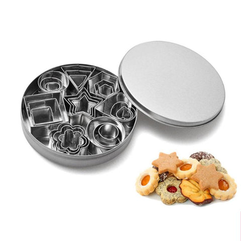 24pcs Stainless Steel Mini Cookie Cutter Set Biscuits Baking Pastry Cutters Slicers Kitchen Baking