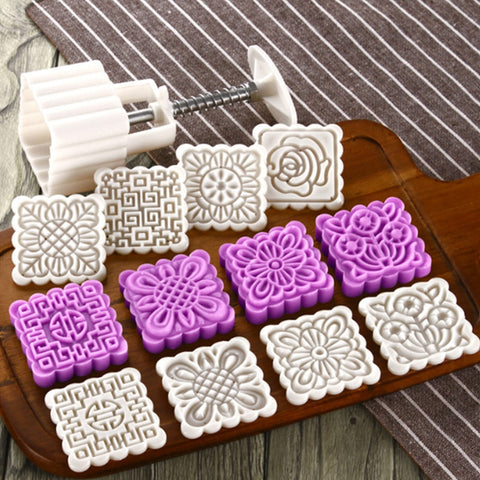 25g 50g 75g Moon Cake Mold Odorless Plastic Cake Plungers Round Square Cookie Cutters Large Bath