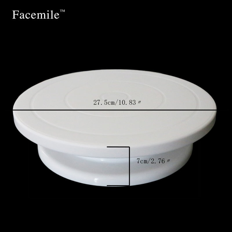 27.5cm Kitchen Cake Decorating Icing Rotating Turntable Cake Stand White Plastic Fondant Baking Tool