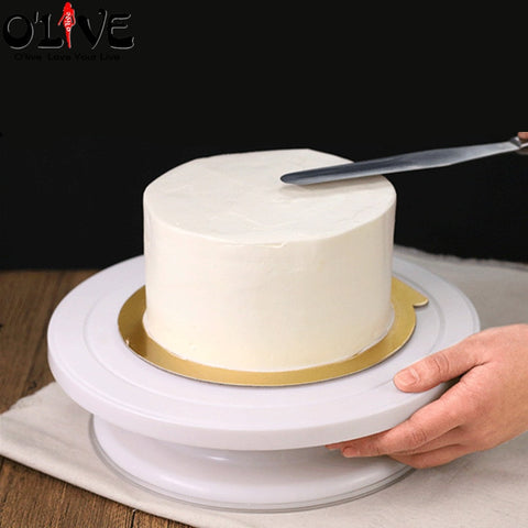 28 CM Plastic Cake Decorating Table Anti-skid Cake Turntable Rotating Cake Stand Decoration Swivel