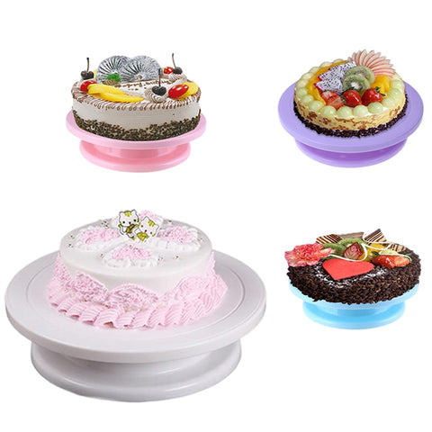 28cm DIY Cake Stand Revolving Cake Turntable Decorating Platform Anti-skid Round Rotary Pan