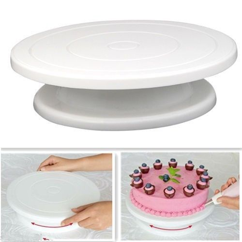 28cm Kitchen Cake Decorating Icing Rotating Turntable Cake Stand White Plastic Fondant Baking Tool