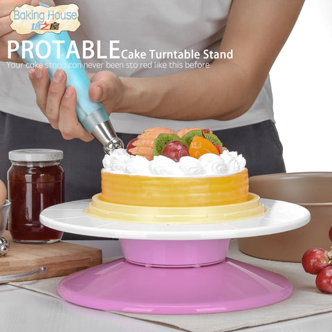 29cm Plastic Cake Turntable Rotating Cake Decorating Turntable Anti-skid Round Cake Stand Cake