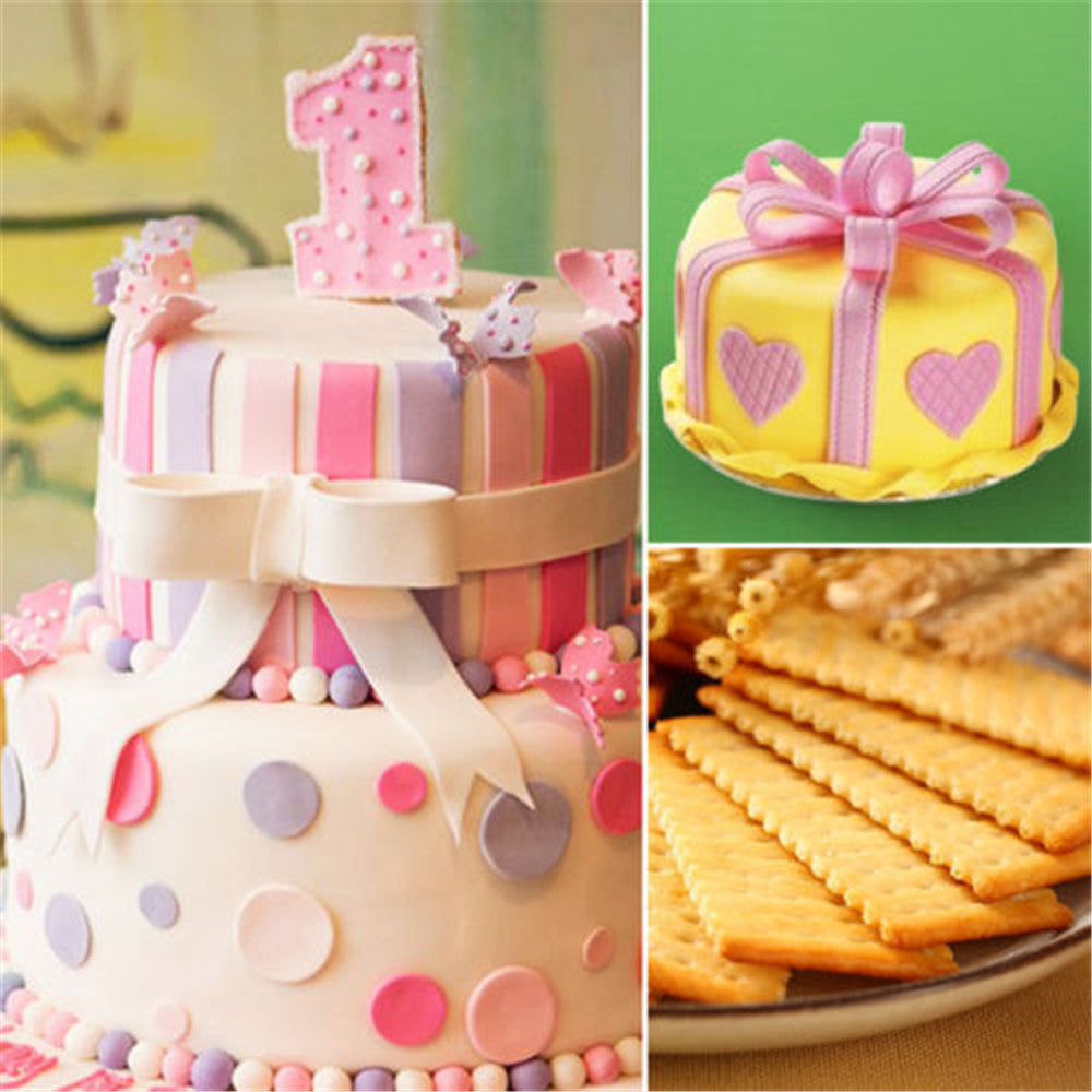 2PCS Fondant Strip Ribbon Cutter Sugarcraft Cake Decorating Tools Plastic Rolling Pin Lace Dots